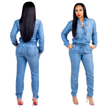 Denim Blue Jumpsuit with Sleeves