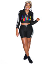 Sexy Negro Tight Deportes Crop Top y pantalones cortos