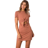 Cut-Out Front Short Sleeve Mini Dress