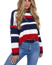 Colorful Stripes Bat Sleeving Sweater Top