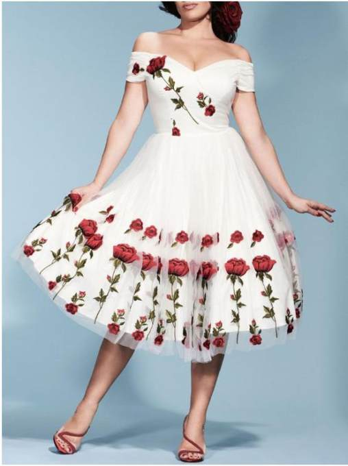 Floral White Sweetheart Occassional Swing Dress