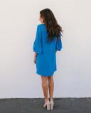 V-Neck Sheer Mini Dress with Ruffle Sleeves