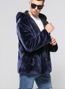 Abrigo corto de piel para hombre con capucha