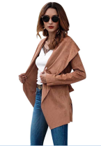 Turndown Wide Collar Plain Coat