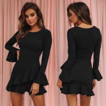 O-Neck-Plain-Kleid mit Rüschensaum und weiten Ärmeln
