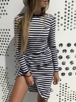 Mini vestido a rayas de manga larga con dobladillo irregular