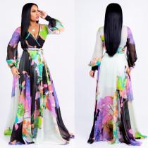 Long Sleeve Chiffon Flower Wrap Maxi Dress