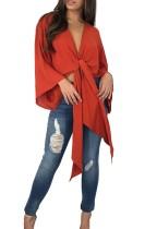 Deep-V Sexy - Gebundene Bluse mit breiten Manschetten