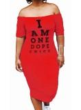 Kapalı Omuz Mektubu Baskı Bodycon Elbise