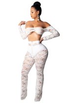 White Lace Sexy Club Top and Pants
