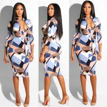 Vestido largo geométrico con curvas multicolor