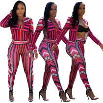 Wavy Print Long Sleeve Tracksuit