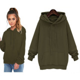 Plain Color Hoody with Big Pocket