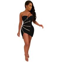 Sexy Strapless Zipped Club Dress
