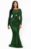 Sexy Shiny Mermaid Evening Dress with Long Sleeves