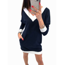V-Neck Long Sleeve Shirt Dress with Contrast Trim