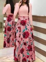 Vestido largo de flores de manga larga