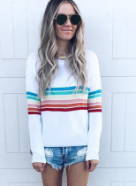 Camisa de rayas de colores con cuello en O