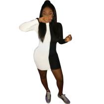 Vestido ajustado de manga larga en blanco y negro