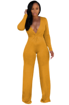 Deep-V Plain Jumpsuit with Full Sleeves