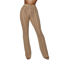 Pantalones de club ahuecados sexy con cintura con cordón