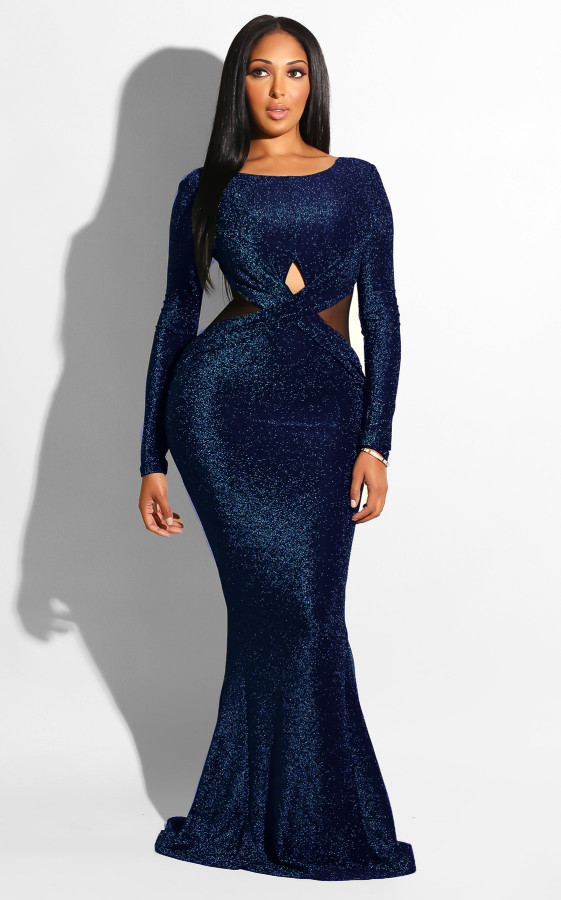 Sexy Shiny Mermaid Evening Dress with Long Sleeves