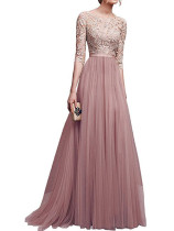Lace Upper Long Evening Dress with 1/2 Sleeves