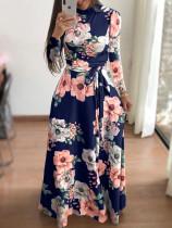 Vestido largo floral de manga larga