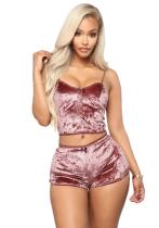 Sexy Velvet Straps Zweiteiler Shorts Set