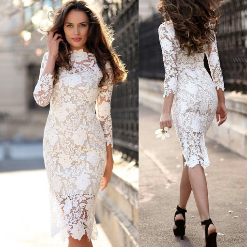 White Flower Lace Chic Slimming Dress