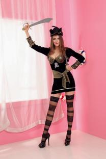 Schwarzes Piratenkostüm für Frauen