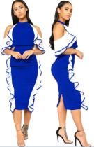 Block Farbe Rüschen Party Kleid