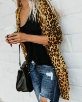 Leopard Print lange Strickjacken