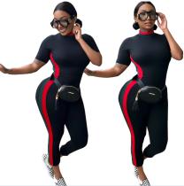 Sexy schwarzer enger Jumpsuit mit Kontrastband