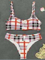 Maillot de bain bikini à carreaux sexy deux pièces