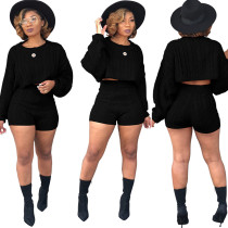 Zweiteilige Crop Sweater Shorts Set