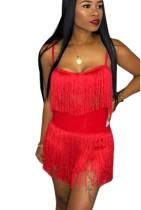 Sexy Two-piece Straps Fringe Dress