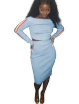 Vestido de dos piezas con hombros descubiertos y banda de contraste
