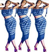 Fringe Hem ile İki Adet Mektubu Baskı Elbise