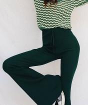 Sexy Legges Wide Curvy Calças com Cordão na cintura