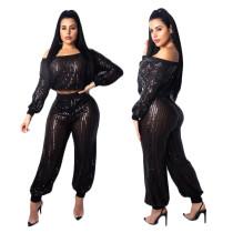 Siyah Pullu İki Parçalı Pantolon Seti