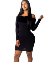 Off Shoulder Black Club Dress with Sleeves