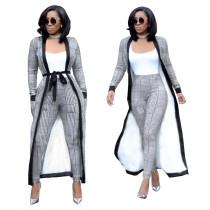 Print Chic Pants and Long Coat