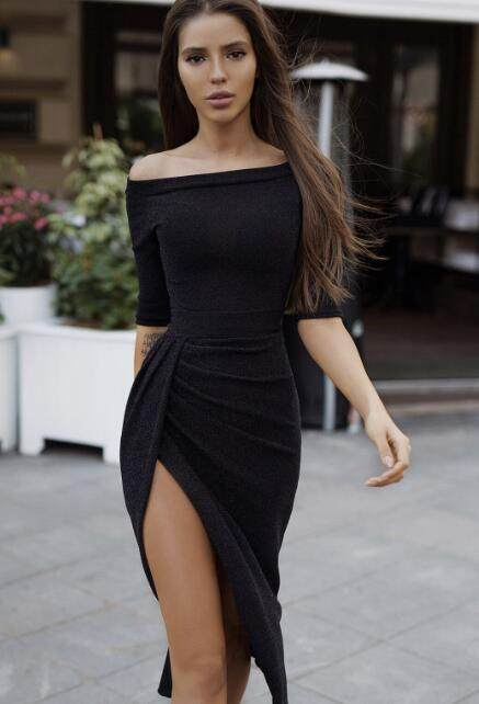 Off Shoulder Long Party Dress with Wrapped Hem