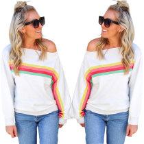 Chemise blanche à rayures colorées à manches longues