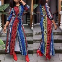Vestido de blusa larga de manga larga estampado Africa