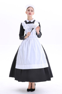 Long Sleeve French Maid Long Dress Halloween-kostuum