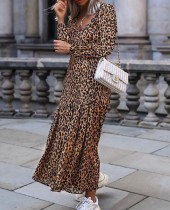 Leopard Printed V-neck Maxi Dress