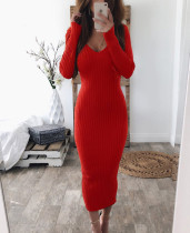 Sexy Plung Sweater Sheath Dress with Full Sleeves