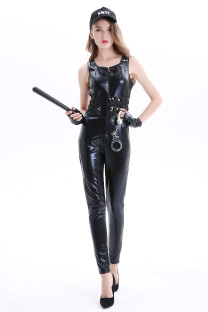 Black Leather Sexy Police Women Jumpsuit for Halloween